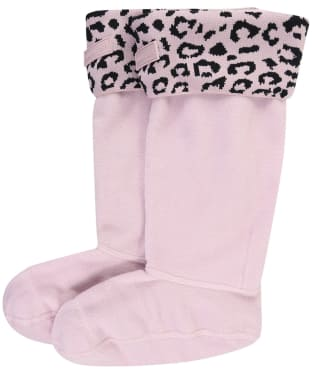Women's Hunter Original Snow Leopard Boot Socks - Haze Pink Leopard Jacquard