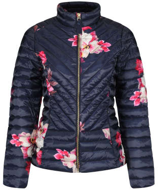 Women's Joules Elodie Print Quilted Jacket - Marine Navy Bircham Bloom