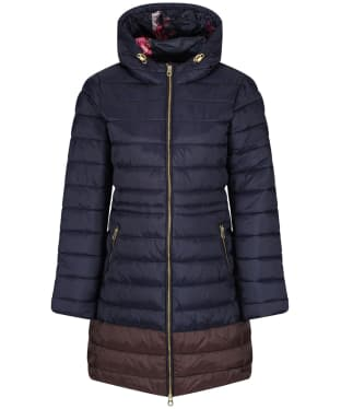 Women's Joules Heathcote Mid Length Quilted Coat - Marine Navy