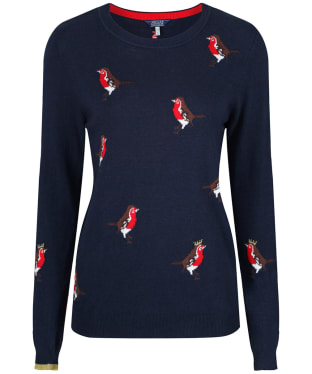 Women's Joules Festive Intarsia Sweater - French Navy Robin