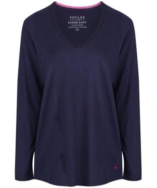 Women's Joules Luna Long Sleeved Pyjama Top - French Navy