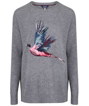 Women's Joules Meryl Embroidered Sweater - Grey Marl Pheasant Embroidery