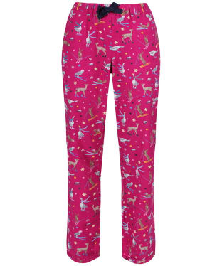 Women's Joules Snooze Woven Pyjama Bottoms - Deep Fuchsia Woodland Ski