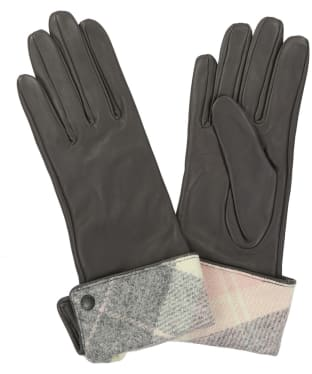 Women's Barbour Lady Jane Leather Gloves - Pink / Grey Tartan