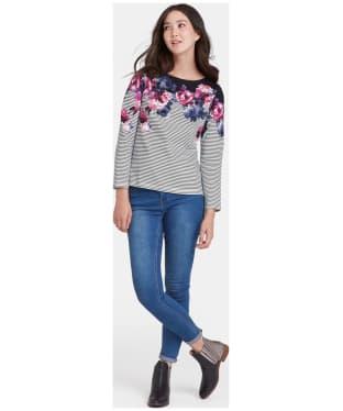Women's Joules Harbour Print Jersey Top - Black Winter Floral