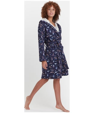Women's Joules Idlewhile Jersey Dressing Gown - French Navy Woodland Ski