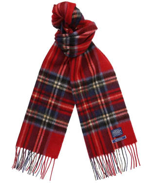 Men's Joules Tytherton Wool Checked Scarf - Red Tartan Check Tweed