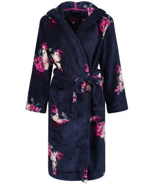 Women's Joules Rita Fluffy Dressing Gown - French Navy Bircham Bloom