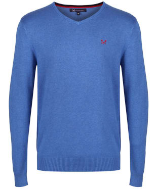 Men's Crew Clothing Foxley V-Neck Sweater - Lapis Blue Marl