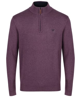 Men's Crew Clothing Half Zip Sweater - Washed Plum Marl