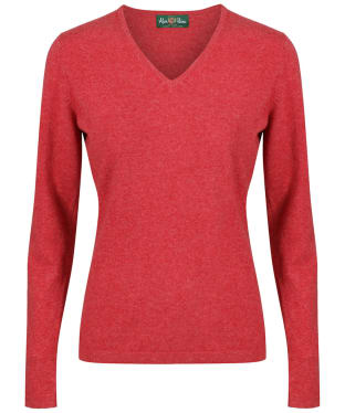 Women's Alan Paine Inset Sleeve V-neck Sweater - Red
