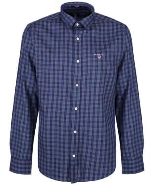 Men's GANT Regular Indigo Twill Check Shirt - Rain Drum