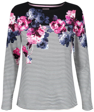 Women's Joules Harbour Print Jersey Top - Black Winter Floral