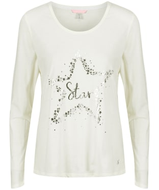 Women's Joules Aubree Graphic Jersey Pyjama Top - Cream