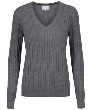 Women's Schoffel Cotton Cashmere Cable Knit V Neck Sweater - Flannel
