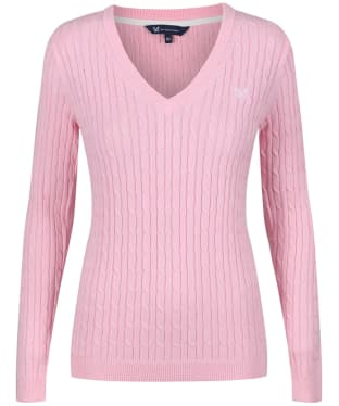Women's Crew Clothing Heritage Cable Jumper - Pure Pink