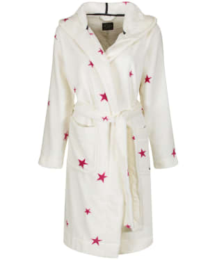 Women's Joules Rita Fluffy Dressing Gown - Cream / Fuchsia Star