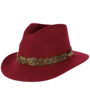 Women's Hicks & Brown The Suffolk Fedora Pheasant Hat - Maroon