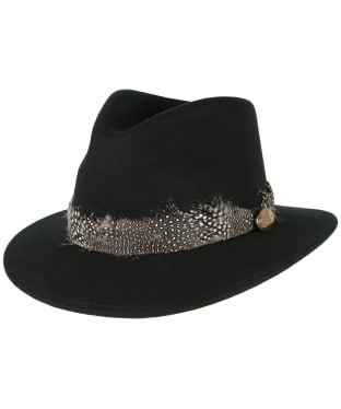 Women's Hicks & Brown The Suffolk Fedora - Guinea Feather Wrap - Black