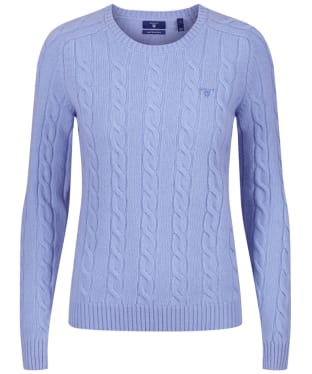 Women's GANT Lambswool Cable Sweater - Lake Blue Melange