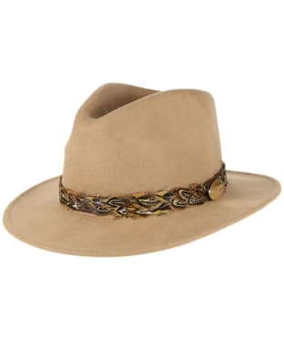 Women's Hicks & Brown The Suffolk Fedora Pheasant Hat - Camel