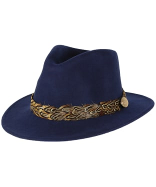 Women's Hicks & Brown The Suffolk Fedora Pheasant Hat - Navy