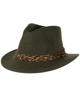 Women's Hicks & Brown The Suffolk Fedora - Pheasant Feather Wrap - Olive