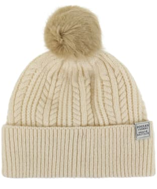 Women's Joules Cable Knit Bobble Hat - Cream