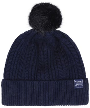 Women's Joules Cable Knit Bobble Hat - French Navy