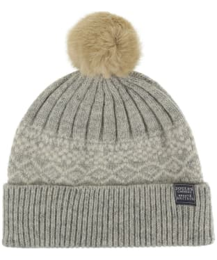 Women's Joules Elsa Fairisle Knitted Hat - Light Grey Marl