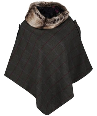 Women's Joules Hazelwood Tweed Poncho - Green Tweed