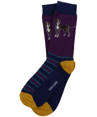 Men's Joules Striking Single Socks - Purple Dog
