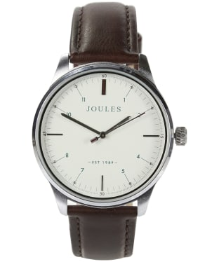 Men's Joules Aldous Leather Strap Watch - Matte Cream / Brown