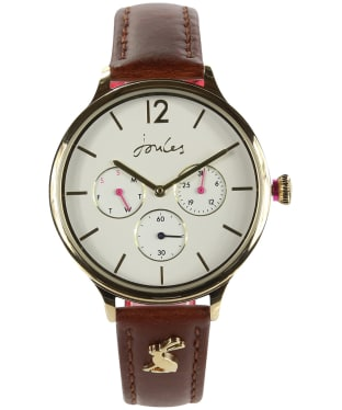 Women's Joules Darcy Leather Strap Watch - Off White / Tan