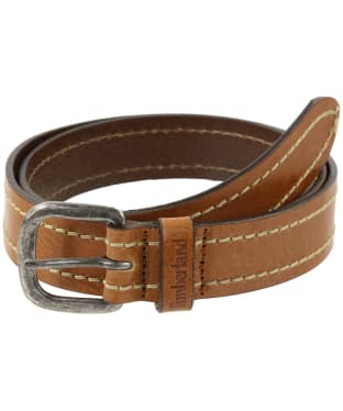 Timberland Heavy Stitch Leather Belt - Cognac