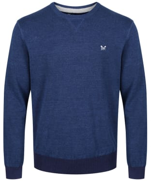 Men's Crew Clothing Westbrook Cotton Linen Sweater - Bright Navy