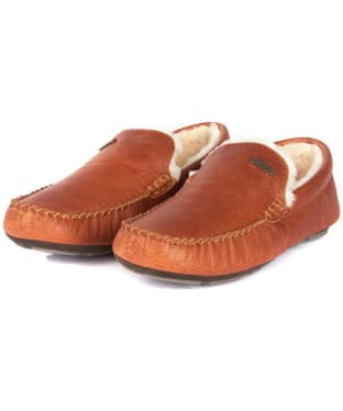 Men's Barbour Monty Leather House Slippers - Tan Leather