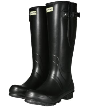 Men's Hunter Field Side Adjustable Neoprene Wellington Boots - Black