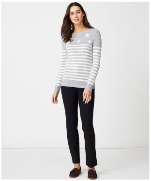 Women's Crew Clothing Star Breton Jumper - Grey / White