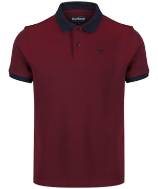 Men's Barbour Sports Polo Mix Shirt - Dark Red