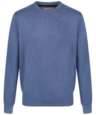 Men's Schoffel Cotton/Cashmere Crew Neck Jumper - Stone Blue
