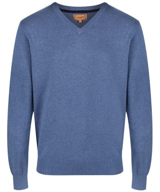 Men's Schoffel Cotton and Cashmere V Neck Jumper - Stone Blue
