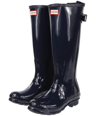 Women's Hunter Original Back Adjustable Gloss Wellingtons - Navy