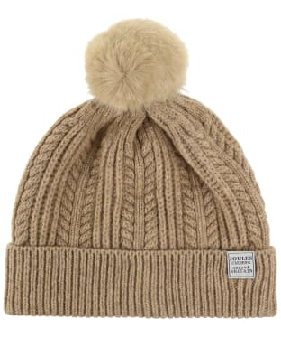 Women's Joules Cable Knit Bobble Hat - Oatmeal