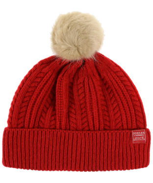 Women's Joules Cable Knit Bobble Hat - Red