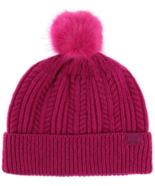 Women's Joules Cable Knit Bobble Hat - Ruby