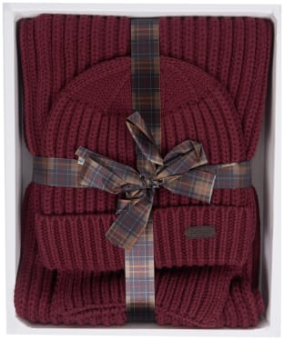 Men's Barbour Chunky Rib Knitted Giftset - Port