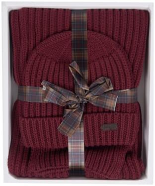 Men's Barbour Chunky Rib Knitted Giftset - Port