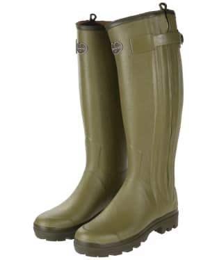 Women's Le Chameau Chasseur Leather Lined Wellingtons - Green