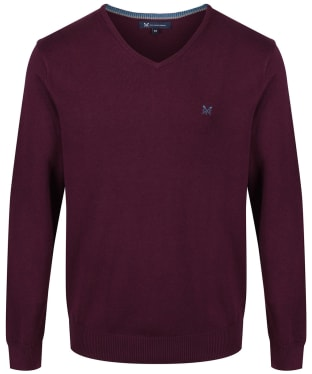 Men's Crew Clothing Foxley V-neck Sweater - Washed Plum